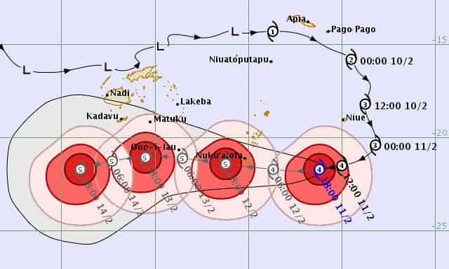 This chart shows Gita's projected path Image credit: NIWA