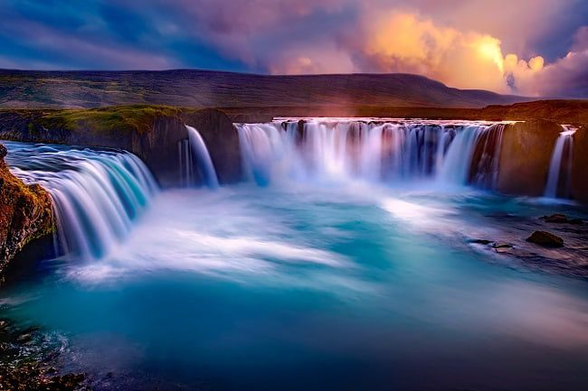 The Goðafoss waterfall in Iceland. A tourism boom in Iceland helped economic growth and unemployment reduction
